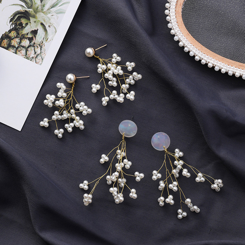 Minimalista-Golden-Long-Branch-Pearl-Pendant-Pendientes-Ladies-Chic-Flower-B9S8 miniatura 11