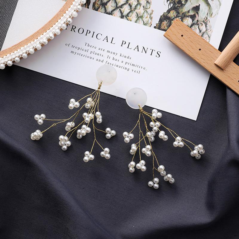 Minimalista-Golden-Long-Branch-Pearl-Pendant-Pendientes-Ladies-Chic-Flower-B9S8 miniatura 12