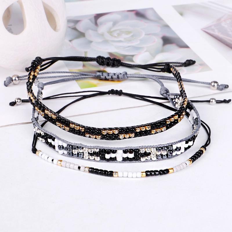 3Pc Cristal De Bohême Perles Amitié Tressé Corde Bracelets Pour Femmes Char Z3H4 3