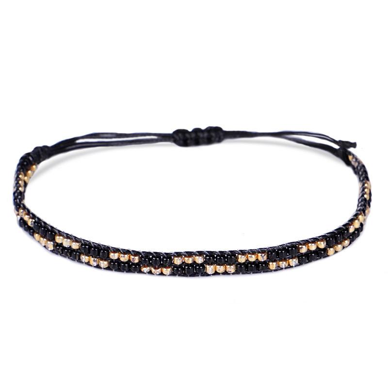 3Pc Cristal De Bohême Perles Amitié Tressé Corde Bracelets Pour Femmes Char Z3H4 4