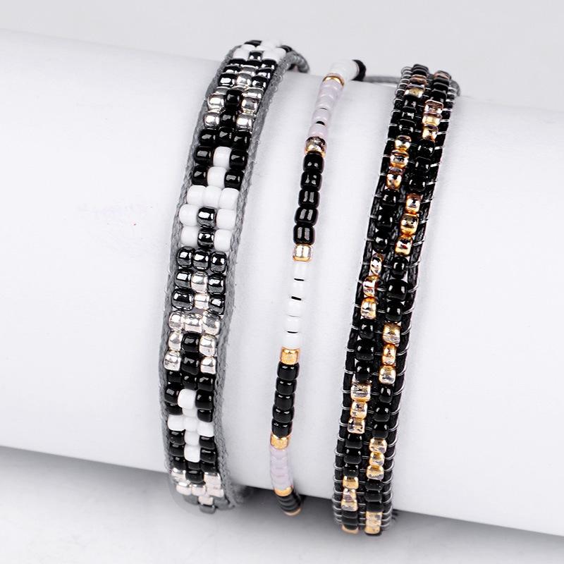 3Pc Cristal De Bohême Perles Amitié Tressé Corde Bracelets Pour Femmes Char Z3H4 6