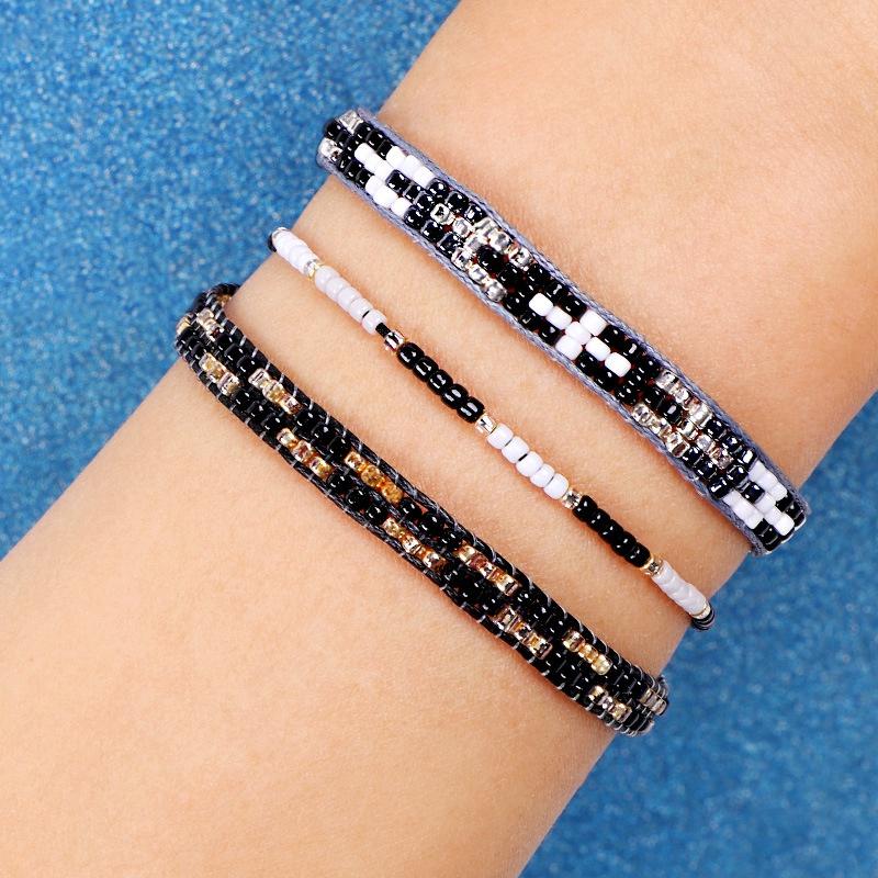 3Pc Cristal De Bohême Perles Amitié Tressé Corde Bracelets Pour Femmes Char Z3H4 7