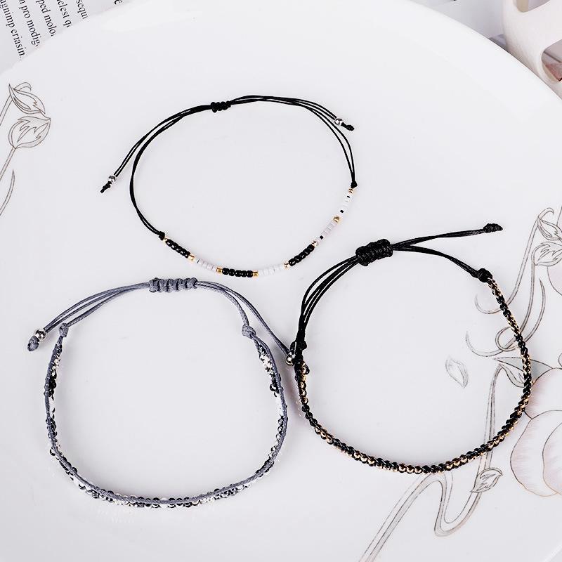 3Pc Cristal De Bohême Perles Amitié Tressé Corde Bracelets Pour Femmes Char Z3H4 8