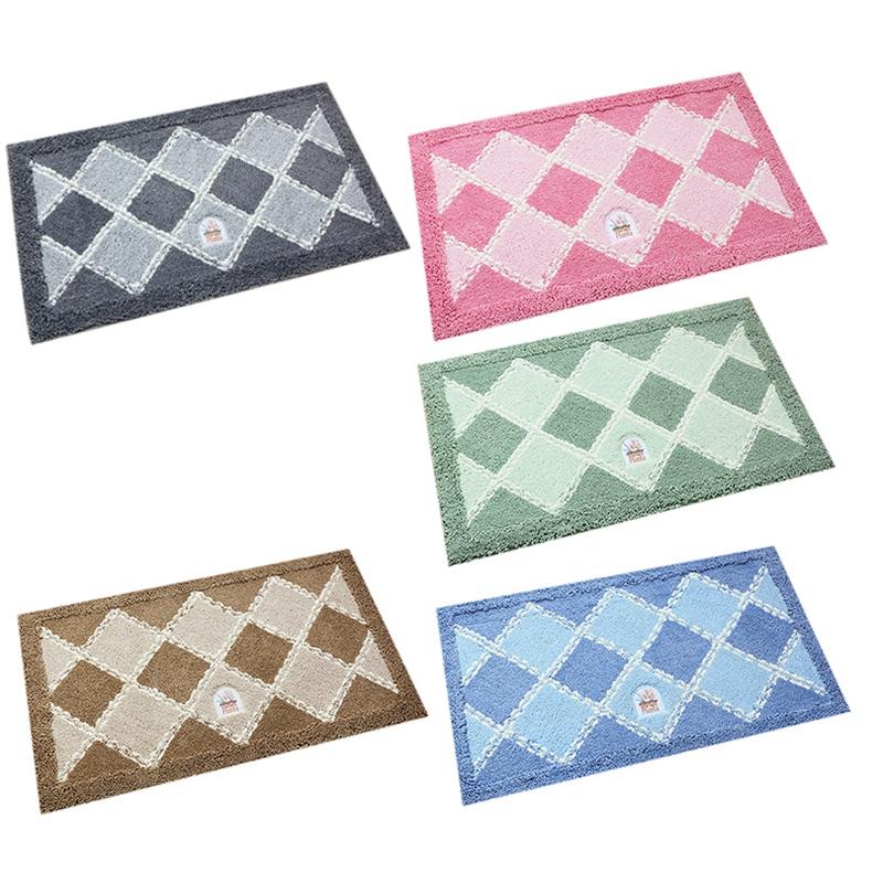 2X-Household-Comfort-Carpet-Flocking-Plaid-Bathroom-Anti-Slip-Mat-Kitchen-A3U1 thumbnail 4
