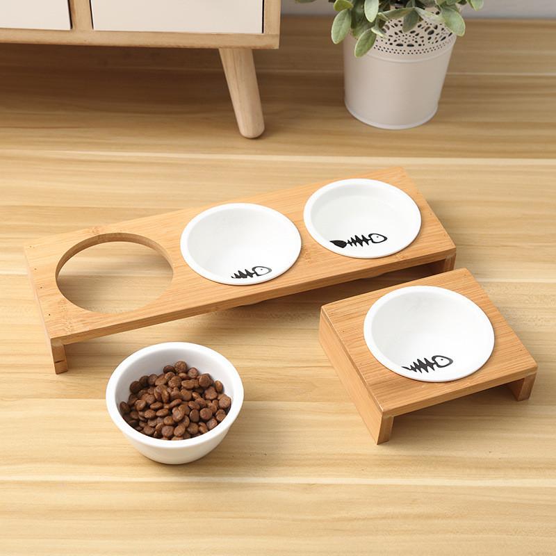 Moda-Gato-Comederos-Para-Perros-Cuencos-Bambu-Vajilla-Ceramica-Comida-Para-N7C1 miniatura 4
