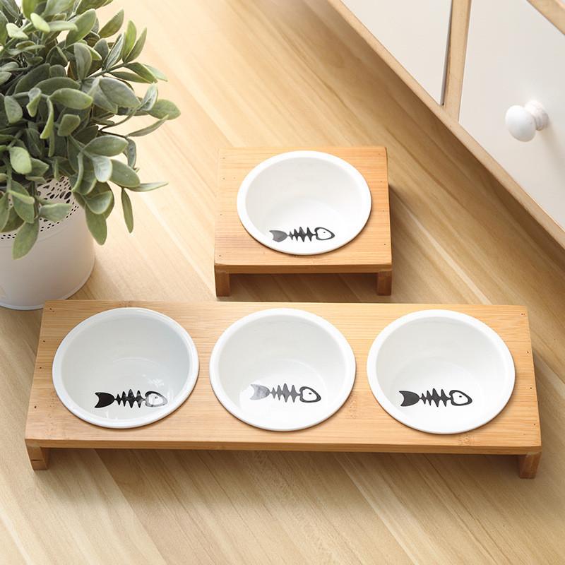 Moda-Gato-Comederos-Para-Perros-Cuencos-Bambu-Vajilla-Ceramica-Comida-Para-N7C1 miniatura 5