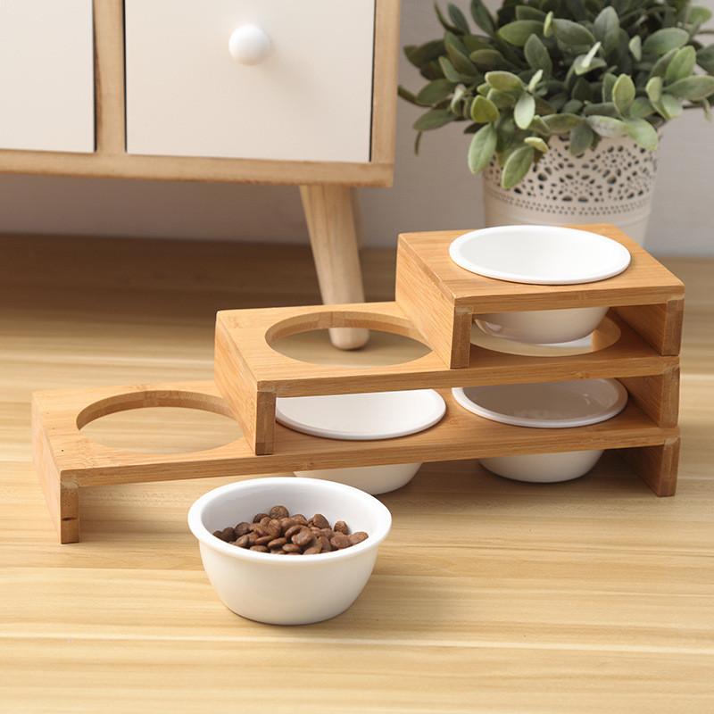 Moda-Gato-Comederos-Para-Perros-Cuencos-Bambu-Vajilla-Ceramica-Comida-Para-N7C1 miniatura 6