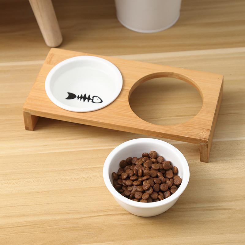 Moda-Gato-Comederos-Para-Perros-Cuencos-Bambu-Vajilla-Ceramica-Comida-Para-N7C1 miniatura 7