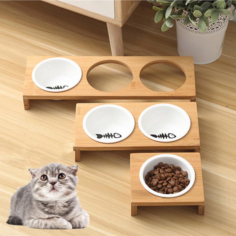 Moda-Gato-Comederos-Para-Perros-Cuencos-Bambu-Vajilla-Ceramica-Comida-Para-N7C1 miniatura 8