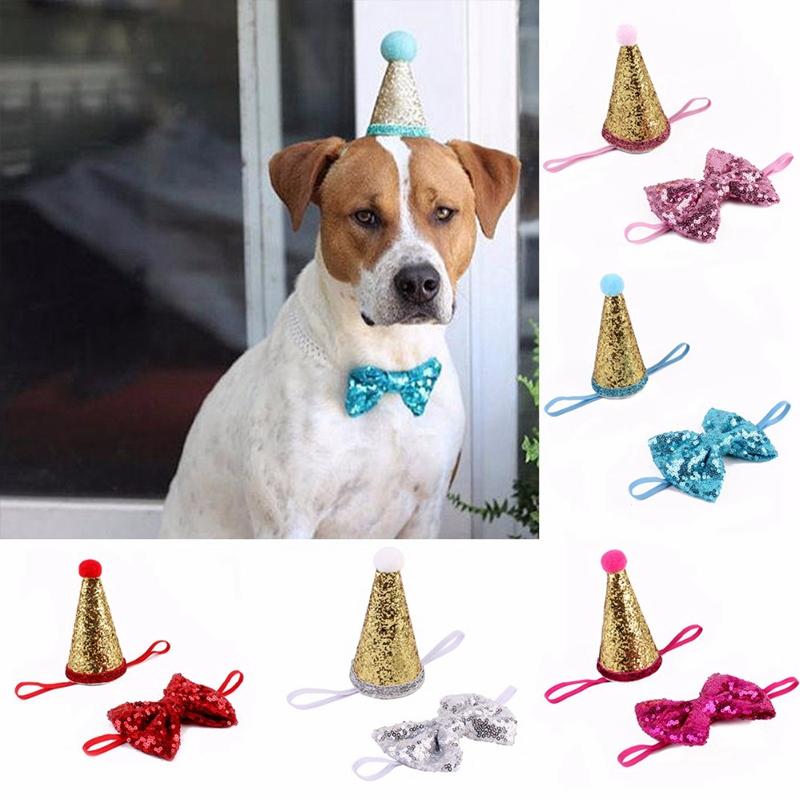 Indexbild 4 - 2 Teile / Satz Pailletten Geburtstag Haustier Hund Katze Kappe + Bogenken K D4Z6
