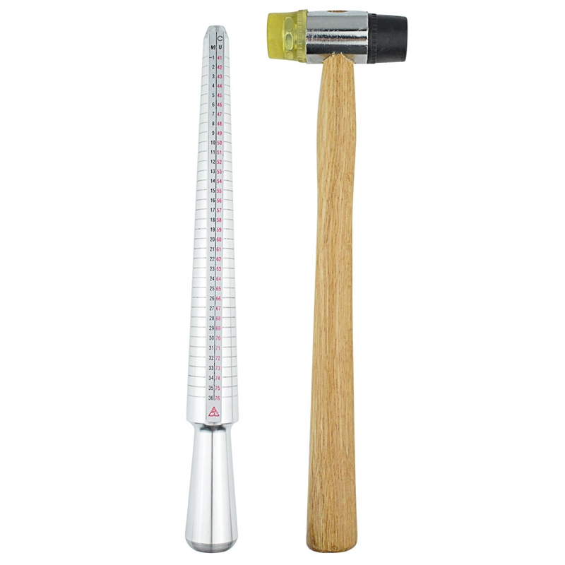 Jewelers-Rubber-Hammer-Ring-Mandrel-Sizer-With-Ring-Sizer-Gauge-Set-Of-27-Y2F6 thumbnail 7