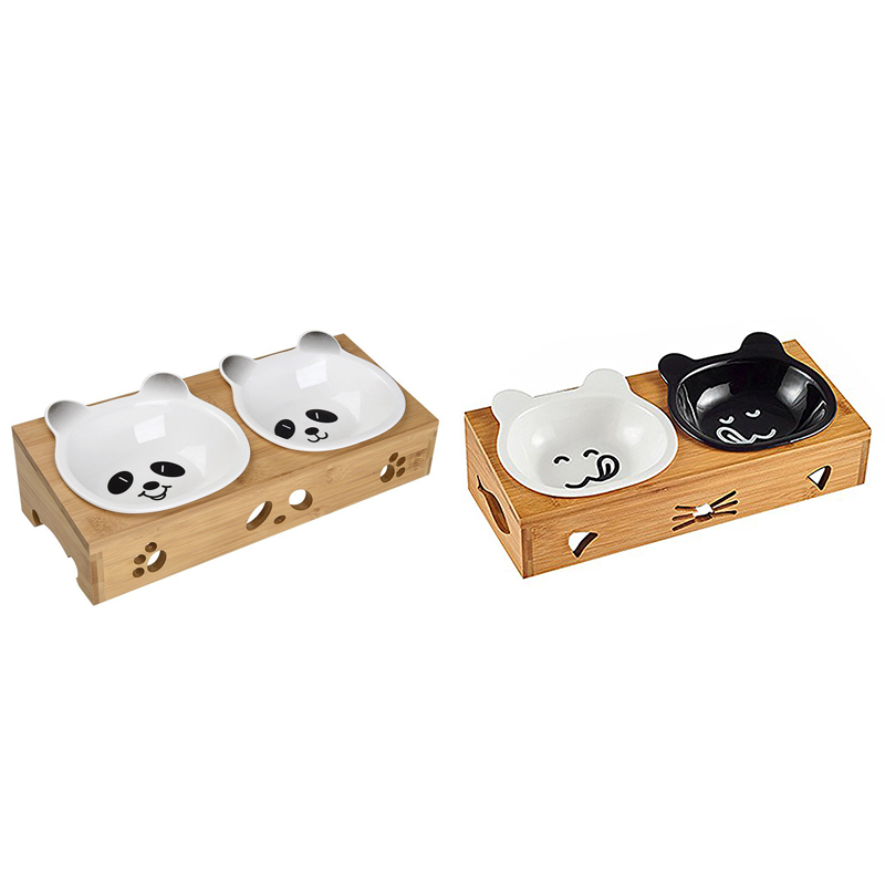 2X(Elevated Dog Cat Bowls, Raised Pet Feeder Solid Bamboo Stand Ceramic Dou W6U8