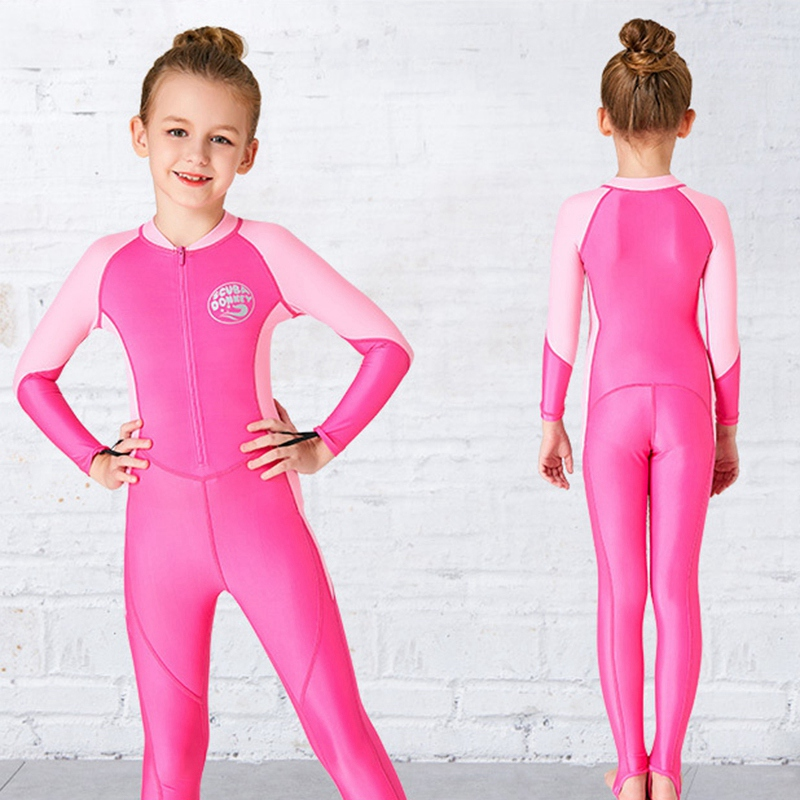 Scuba-Donkey-Girls-Wetsuit-Kids-Diving-Suit-One-Piece-Long-Sleeves-Uv-Prote-O9I6 thumbnail 5