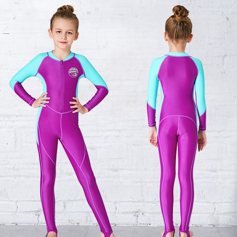 Scuba-Donkey-Girls-Wetsuit-Kids-Diving-Suit-One-Piece-Long-Sleeves-Uv-Prote-O9I6 thumbnail 6
