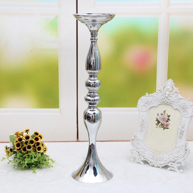 Metal-Bougeoirs-Vase-A-Fleurs-Support-De-Bougie-Baton-Table-De-Mariage-Piec-S2I4 miniature 5