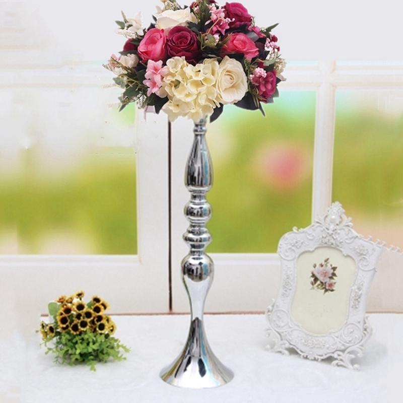 Metal-Bougeoirs-Vase-A-Fleurs-Support-De-Bougie-Baton-Table-De-Mariage-Piec-S2I4 miniature 7