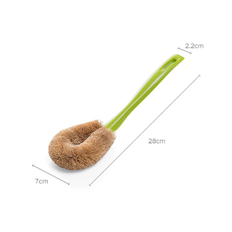 Natural-PP-Coconut-Brown-Silk-Non-Stick-Oil-Long-Handle-Pot-Brush-Dish-Wash-C7Z6 thumbnail 3
