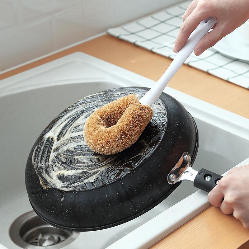 Natural-PP-Coconut-Brown-Silk-Non-Stick-Oil-Long-Handle-Pot-Brush-Dish-Wash-C7Z6 thumbnail 11