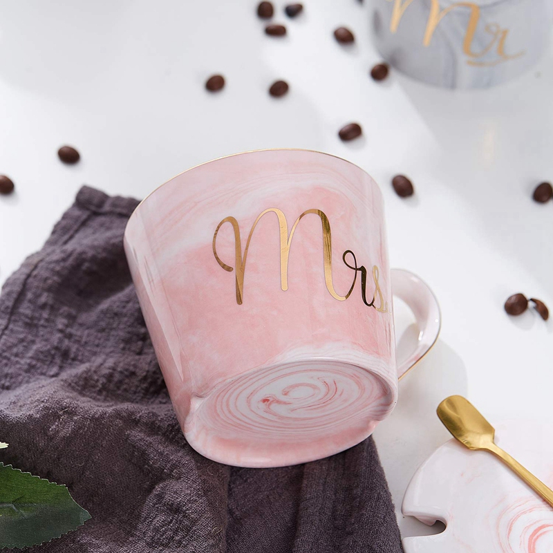 Mr-Mrs-Coffee-Mugs-Set-taza-de-cafe-de-marmol-de-15Oz-con-tapas-y-cuchara-K9P2 miniatura 3