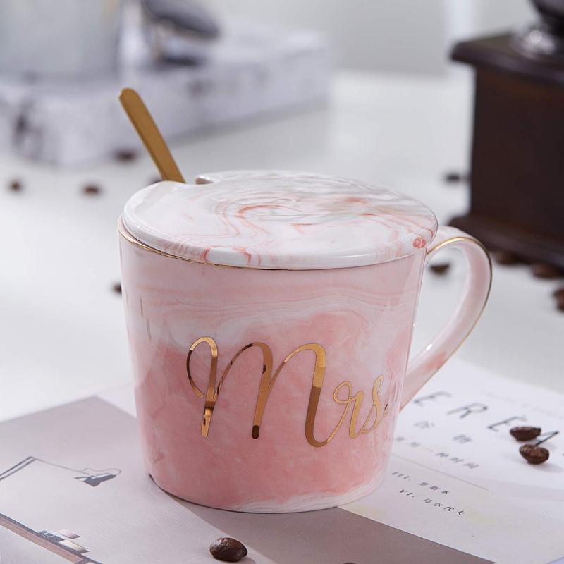 Mr-Mrs-Coffee-Mugs-Set-taza-de-cafe-de-marmol-de-15Oz-con-tapas-y-cuchara-K9P2 miniatura 4