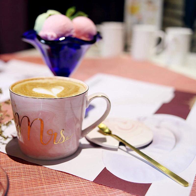 Mr-Mrs-Coffee-Mugs-Set-taza-de-cafe-de-marmol-de-15Oz-con-tapas-y-cuchara-K9P2 miniatura 5