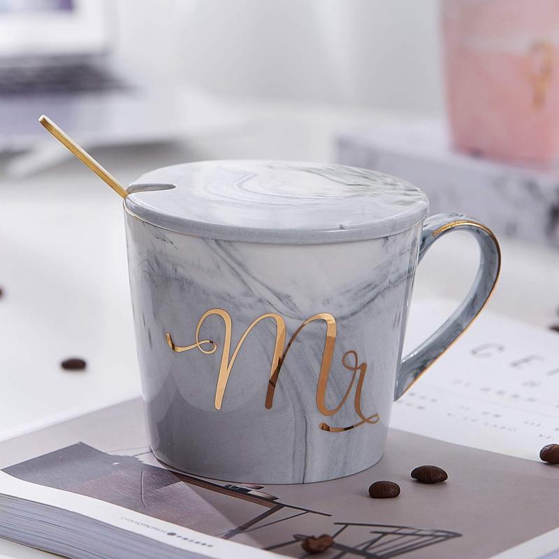 Mr-Mrs-Coffee-Mugs-Set-taza-de-cafe-de-marmol-de-15Oz-con-tapas-y-cuchara-K9P2 miniatura 11