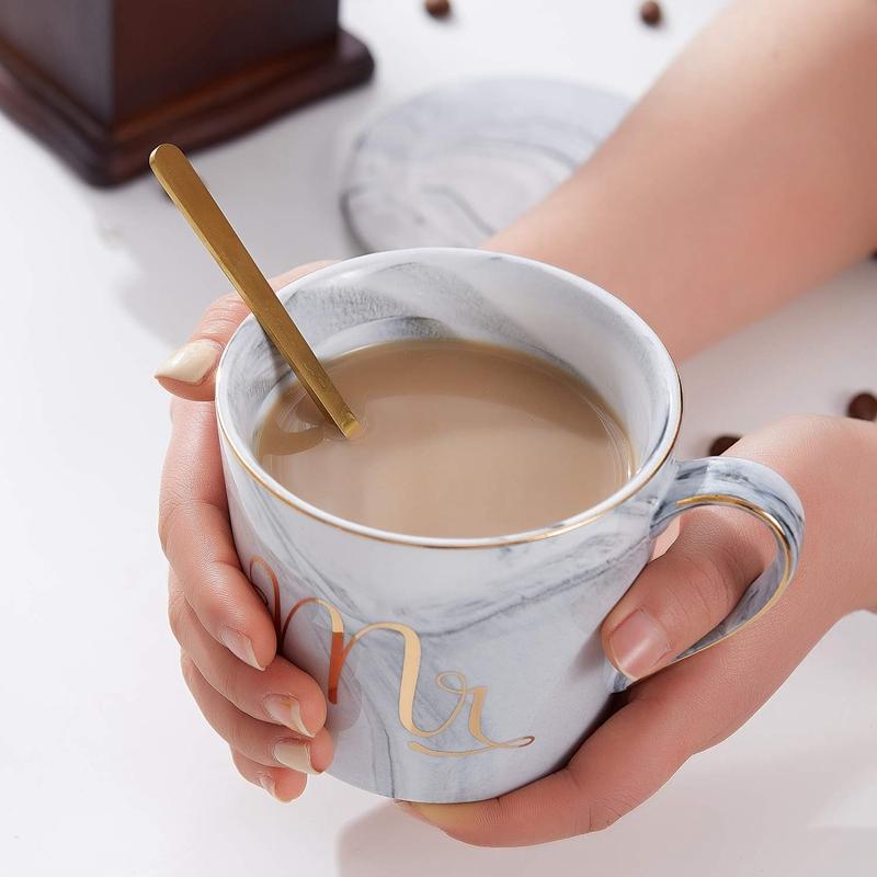Mr-Mrs-Coffee-Mugs-Set-taza-de-cafe-de-marmol-de-15Oz-con-tapas-y-cuchara-K9P2 miniatura 12