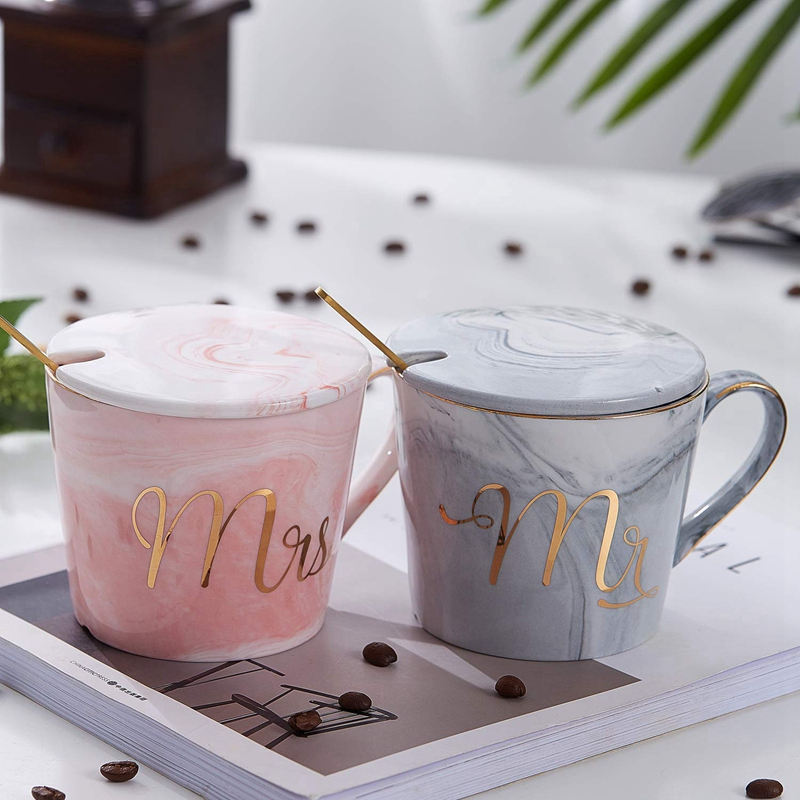 Mr-Mrs-Coffee-Mugs-Set-taza-de-cafe-de-marmol-de-15Oz-con-tapas-y-cuchara-K9P2 miniatura 13