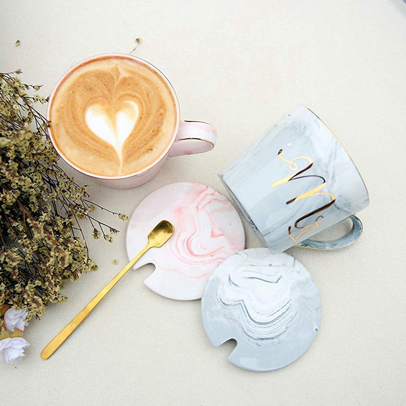Mr-Mrs-Coffee-Mugs-Set-taza-de-cafe-de-marmol-de-15Oz-con-tapas-y-cuchara-K9P2 miniatura 14
