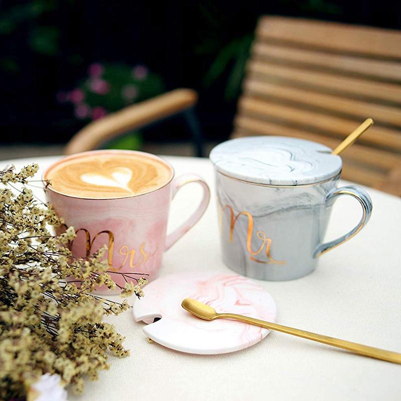 Mr-Mrs-Coffee-Mugs-Set-taza-de-cafe-de-marmol-de-15Oz-con-tapas-y-cuchara-K9P2 miniatura 15