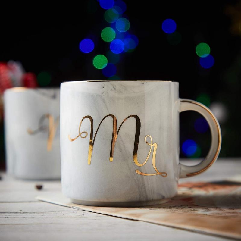 Kaffeebecher-Set-Mr-und-Mrs-Marmor-Farbige-Keramikbecher-2Er-Set-V8X7 Indexbild 3