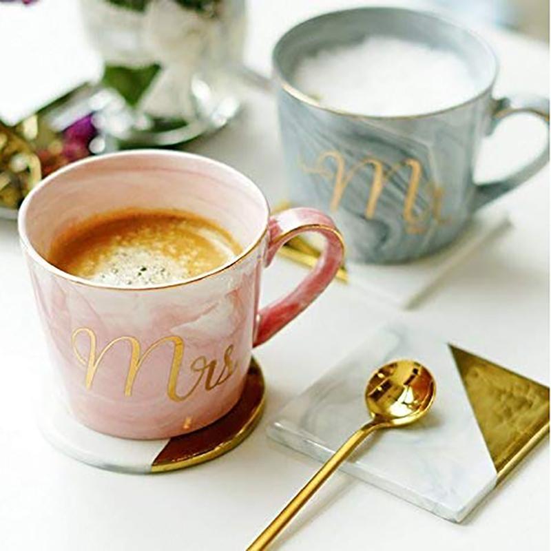 Kaffeebecher-Set-Mr-und-Mrs-Marmor-Farbige-Keramikbecher-2Er-Set-V8X7 Indexbild 4
