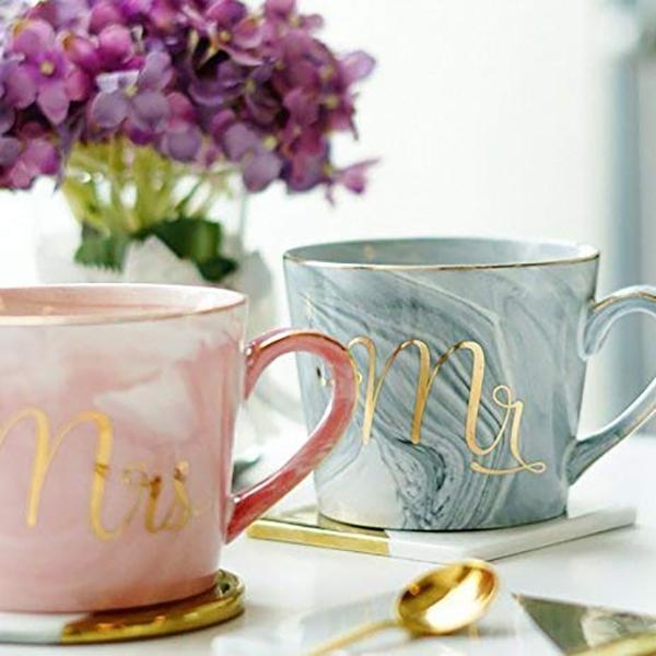 Kaffeebecher-Set-Mr-und-Mrs-Marmor-Farbige-Keramikbecher-2Er-Set-V8X7 Indexbild 5