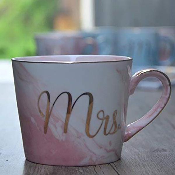 Kaffeebecher-Set-Mr-und-Mrs-Marmor-Farbige-Keramikbecher-2Er-Set-V8X7 Indexbild 7