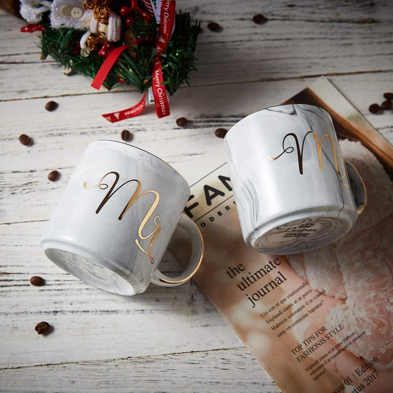 Kaffeebecher-Set-Mr-und-Mrs-Marmor-Farbige-Keramikbecher-2Er-Set-V8X7 Indexbild 11