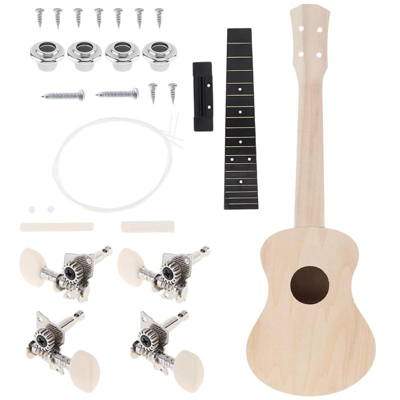 Kinder Konzert Ukulele Diy Kit 23 Zoll Basswood 4 Saiten Hawaiian Gitarre f Z3Y4