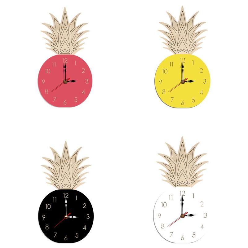 Nordic Pineapple Wall Clocks Children S Room Wooden Silent Wall Clock Home Z4c2 Ebay
