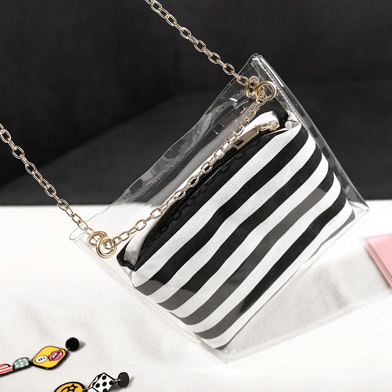 Frauen-Zusammengesetzte-Tasche-Metallkette-PVC-Transparente-UmhaeNgetasche-G-Z7D6 Indexbild 4