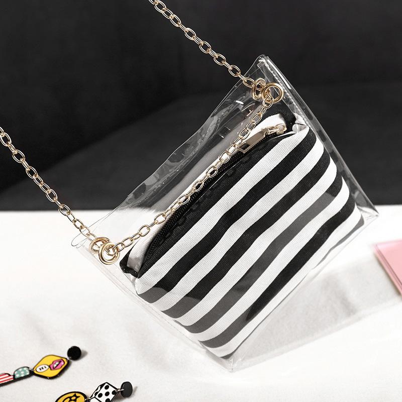 Frauen-Zusammengesetzte-Tasche-Metallkette-PVC-Transparente-UmhaeNgetasche-G-Z7D6 Indexbild 10