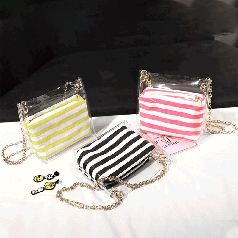 Frauen-Zusammengesetzte-Tasche-Metallkette-PVC-Transparente-UmhaeNgetasche-G-Z7D6 Indexbild 11