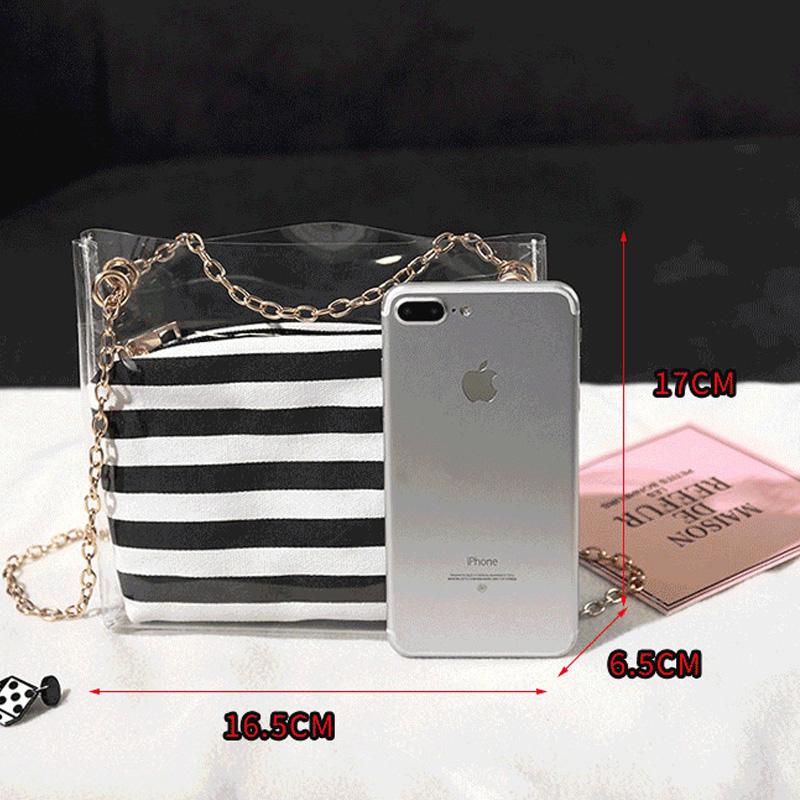 Frauen-Zusammengesetzte-Tasche-Metallkette-PVC-Transparente-UmhaeNgetasche-G-Z7D6 Indexbild 13
