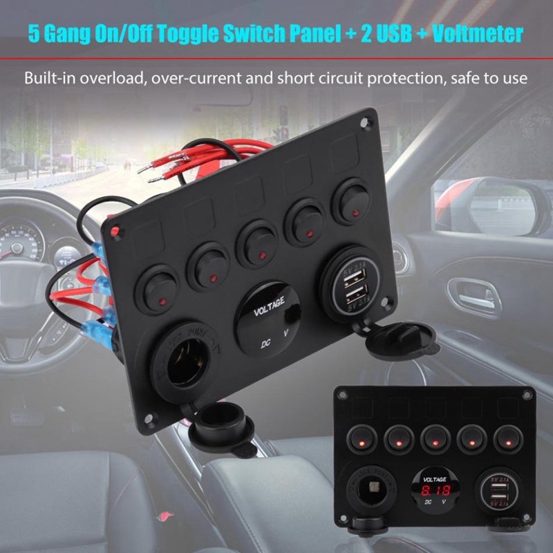 Car/Switch/Panel 4 Gang 4.2A On//Off Toggle Switch Panel Dual USB Charger Voltmeter for Car Boat Truck 12v/Switch/Panel Red