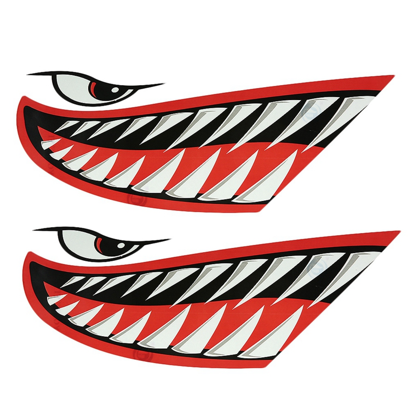 2x Shark Teeth Mouth Decals Sticker for Boat Yacht Fishing Kayak Dinghy Car