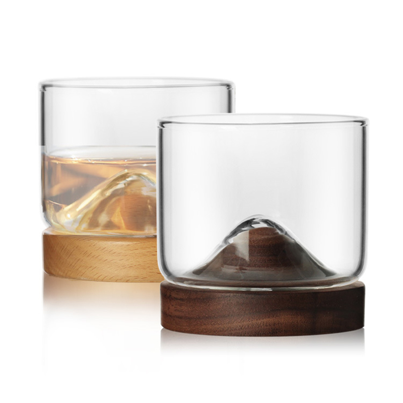 New-Whiskey-Glass-Small-Glass-Japanese-Style-Mountain-Wooden-Bottom-Wine-Gl-Z9U7 thumbnail 2