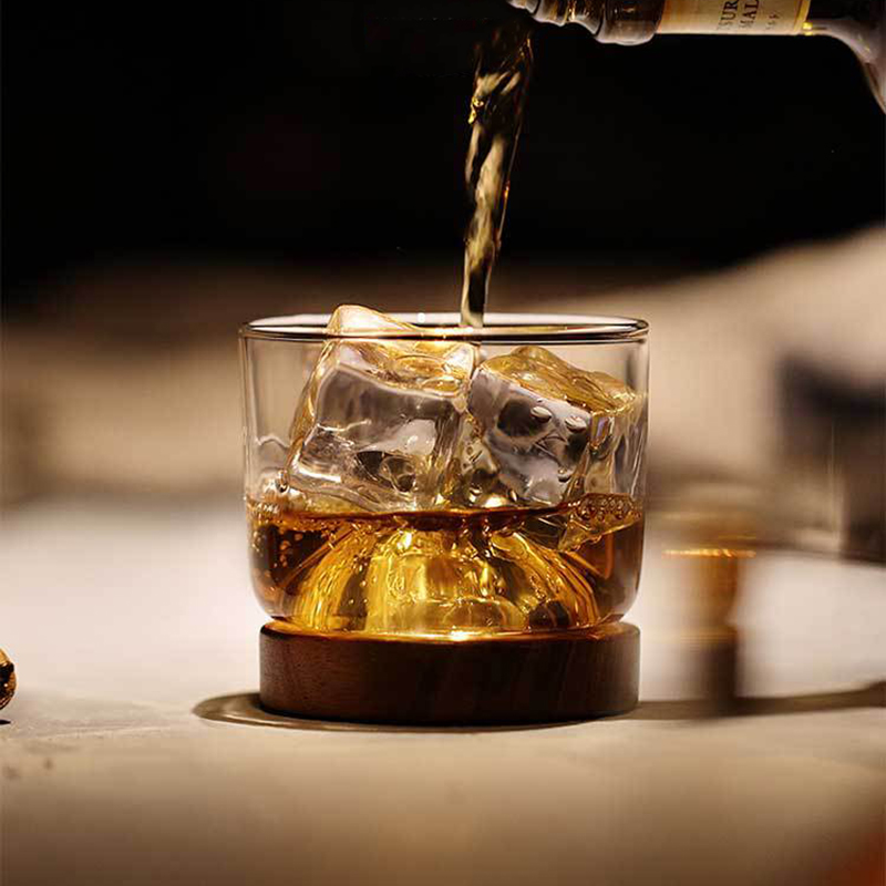 New-Whiskey-Glass-Small-Glass-Japanese-Style-Mountain-Wooden-Bottom-Wine-Gl-Z9U7 thumbnail 6