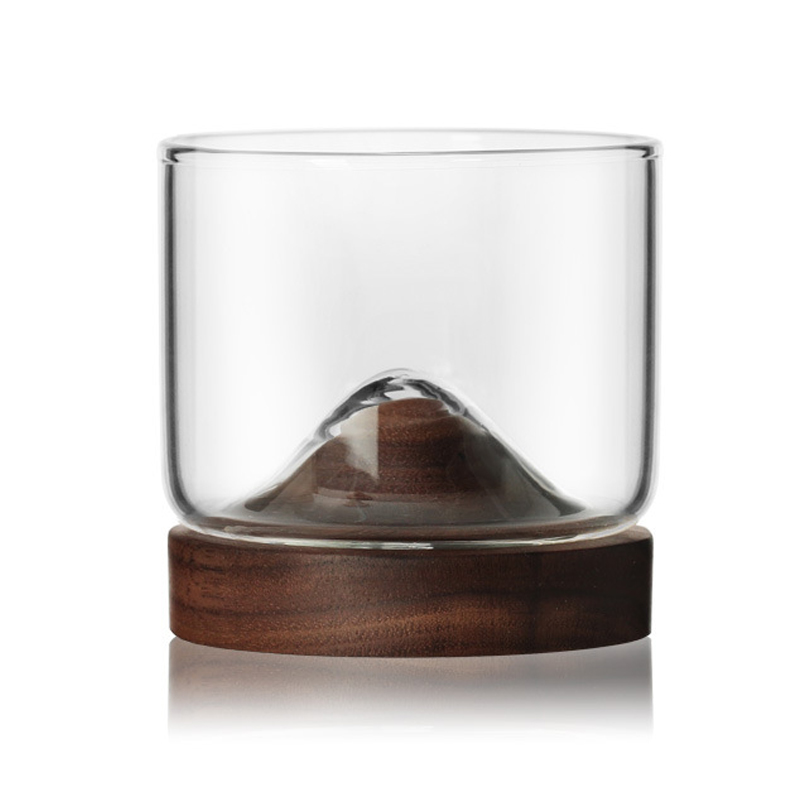 New-Whiskey-Glass-Small-Glass-Japanese-Style-Mountain-Wooden-Bottom-Wine-Gl-Z9U7 thumbnail 1