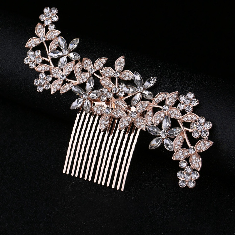 Wedding-Hair-Combs-For-Bride-Crystal-Rhinestones-Pearls-Women-Hairpins-BridR3Y3 thumbnail 3