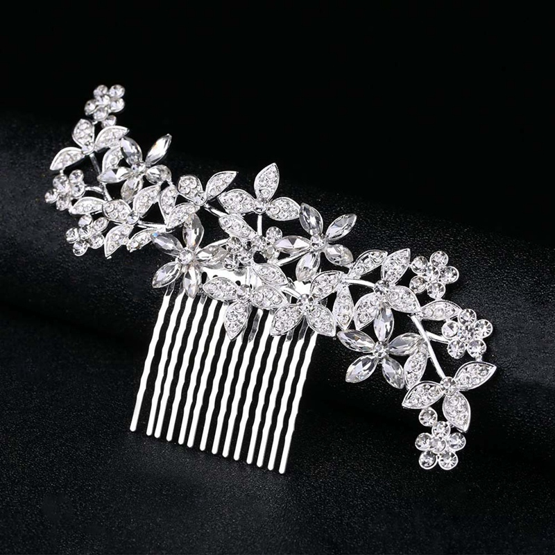Wedding-Hair-Combs-For-Bride-Crystal-Rhinestones-Pearls-Women-Hairpins-BridR3Y3 thumbnail 16