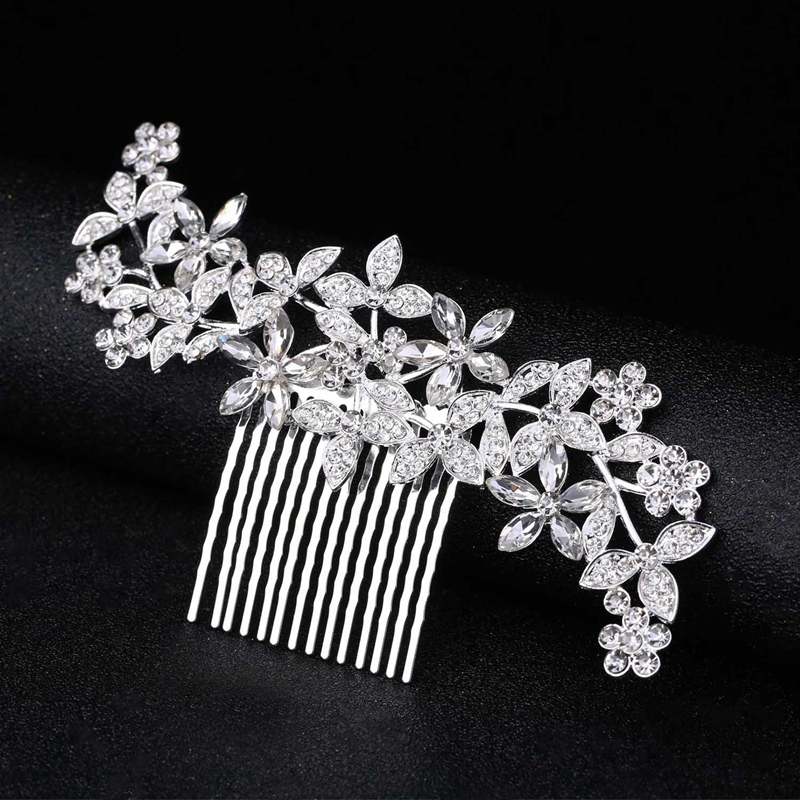 Wedding-Hair-Combs-For-Bride-Crystal-Rhinestones-Pearls-Women-Hairpins-BridR3Y3 thumbnail 20