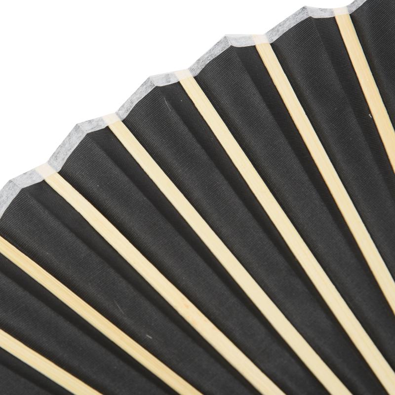 Black Silk Hand Fan Black Bamboo Ribs Hand Held Fan Personal Fan O7T8